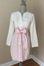 Lauren James Light Pink And White Seersucker Long Sleeve Dress With Sash. Xs