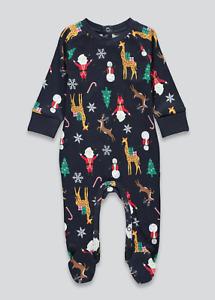 Matalan Christmas Baby Sleepsuit Pyjamas Festive Xmas Santa Reindeer Eve Box NEW