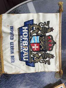 Vintage Wurzburger Hofbrau Imported Bavarian Beer banner sign Flag w/ Tassles