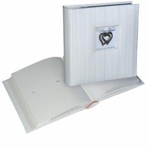 Wedding Hearts 6x4 slip-in 200 photo album, textured white cover, metal hearts