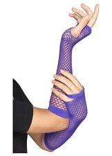 Adult Fishnet fingerless long gloves 80s 1980s costume dance punk purple 45960