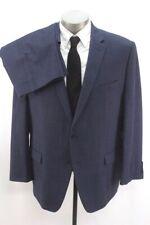 mens navy blue CALVIN KLEIN 2pc Pant Suit wool modern two button 48 R