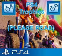 Crash Team Racing: Nitro Fueled PS4 (New Time-Master & Gasmoxian Slug Trophy)