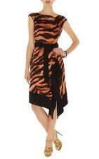 KAREN MILLEN Black Multi Zebra PRINT Tie Dye PARTY COCKTAIL DRAPED DRESS UK 12