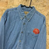 Port Authority Mens Long Sleeve Denim Shirt Size Large L Embroidered