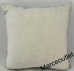 "Hotel Collection Linen Embroidered 20"" Square Decorative Pillow Natural"