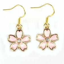 Cute New Yellow Gold Plated Pink Enamel Crystal Flower Hook Dangle Earrings