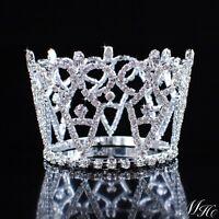 Small Pretty Round Crown Hair Tiara Rhinestone Crystal Wedding Bridal Prom Party