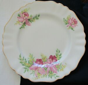 FOUR (4) J & G MEAKIN ENGLAND DINNER PLATES WITH PINK ORCHIDS AND GOLDEN WATTLE