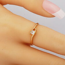 Fashion Jewelry Yellow Gold Filled Clear Cubic Zirconia Womens Ring Size 7.5