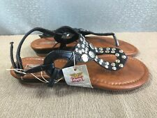 BNWT Ladies Older Girls Sz 5 Rivers  Brand Black strappy stud detail Sandals