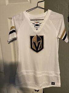 NWT Vegas Golden Knights Fanatics Women's Draft Me Lace Up T-Shirt  WHITE Small