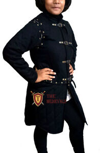 Medieval Knight Armor Gambeson FEMALE Quilted Dress Costume LARP Renaissance Blk