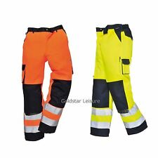 Portwest Texo HI VIS Work Trousers Knee Pad Pockets Back Elastic Waist TX51