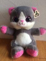 Plüsch Katze kuschelig ca. 25 cm sitzend Glitzeraugen grau rosa Geschenk süss