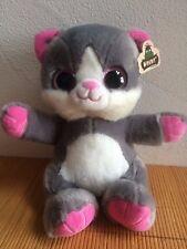 felpa gato Mimoso aprox. 25cm Sentado Ojos De Purpurina Gris Rosa Regalo Dulce