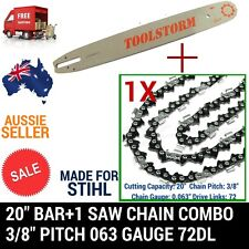 "20"" BAR AND 1 CHAIN COMBO SPROCKET NOSE FOR STIHL CHAINSAW NEW 3/8 72DL .63"""