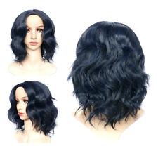 35cm Women Black Hair Short Bob Synthetic Fiber Glueless Full Wig Lace Wavy Wigs
