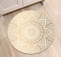 Bedroom Indian Mandala Flower Round Carpet Floor Non-Slip Room Bath Door Mat Rug