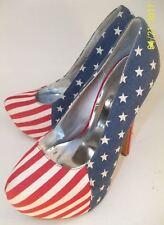Shoedazzle Wos Stilettos US 6.5 American Flag Platform red white blue 4th  6032