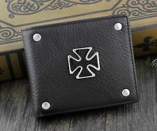 High Quality Iron Cross Stud Bifold Genuine Leather Wallet Purse For Mens