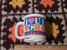 "(Vtg.) I Heart(Love) U(You) GRANDMA (Trip-Sip) Mug/Lid w/ Unused Base ""Colorful"""