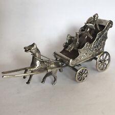 Fine Antique Solid Silver Miniature Horse & Cart Dutch Child's Toy 9cm