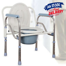 Shower Commode Foldable Bathroom Stainless Adjustable Bedside Toilet Chair ACB#