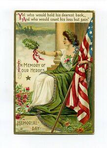 Antique Embossed patriotic postcard, Memorial Day, In Memory of our Heroes