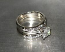 14K WHITE GOLD DIAMOND SOLITAIRE ENGAGEMENT RING & BANDS 1.2 CT PRINCESS CUT I3