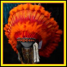 "Genuine Native American Navajo Indian headdress 36 inch ""PHOENIX"" Orange & Red"