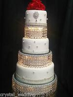 Diamantes de imitación perla y diamante acabado de alto Pastel Soporte para pastel de bodas estilo Gatsby