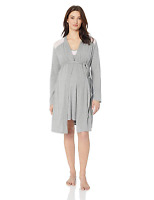 Motherhood Maternity Women's Maternity Lace Inset Gown and Robe Set with Nursing