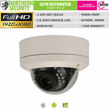 SONY IMX 2MP 2.8-12MM 1080P POE ONVIF P2P 10M AUDIO MINI DOME IP NETWORK CAMERA