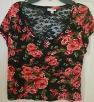 Bongo Top Black Red Floral Crop S/S Chiffon Lace Scoop Boho Casual Junior Size L