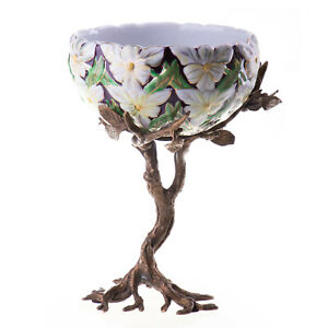 Porcelain Bronze Bowl Art Nouveau Antique Ornamental Floral Pattern - 20251