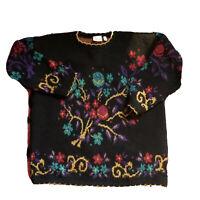Vintage 80s 90s Floral Sweater Boho Sz Med Colorful Oversized Boxy