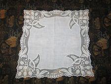 VTG Antique Needle Run Embroidery Net Lace Handkerchief Hanky~Bridal~Floral