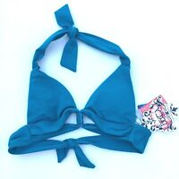 Becca By Rebecca Virtue Swimsuit Halter Top Women Size XS Teal Padded Cut Out