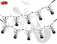 Rock and Roll Guitar Notes Black Theme Bunting Banner party by PARTY DECOR