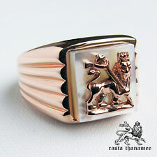 RASTA THANAMEE LION PEARL SHELL 18K PINK GOLD PLATED .925 SILVER RING SZ 10 NEW