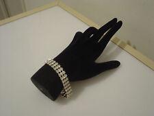 "Napier triple row rhinestone bracelet silvertone metal 7"" long"