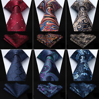 Hisdern Men's Tie Paisley Check Dot Silk Necktie Handkerchief Set Wedding #T72
