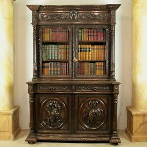 Antique Victorian Carved Oak Country Hunting/Sporting Bookcase