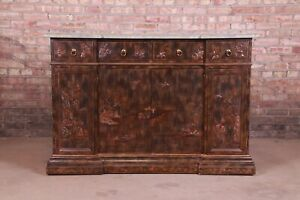 Maitland Smith Hollywood Regency Chinoiserie Marble Top Sideboard or Bar Cabinet