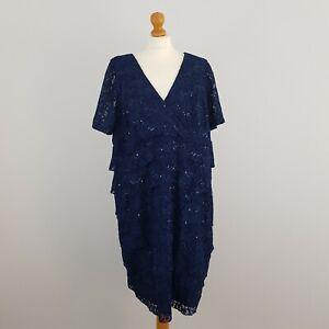 Ann Harvey Womens Blue V Neck Ruffle Skirt Embellished Sequin Lace Dress Size 22
