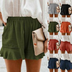 Plus Size Ladies Plain High Waist Frill Shorts Summer Casual Loose Pants Shorts