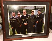 Sopranos Autographed 16x20 Graveyard Photo - James Gandolfini Plus 4 - Steiner