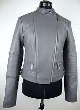 MICHAEL KORS Lederjacke Damen Jacke Lammnappa Leather Jacket Grau Silber GrS NEU