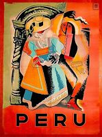 Peru South America Vintage Travel Home Wall Decor Art Advertisement Poster Print